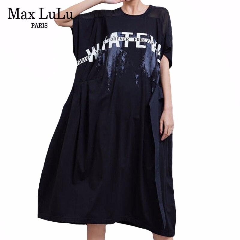 Max LuLu 2020 Summer European Fashion Style Ladies Printed Dresses Womens Casual Loose Dress Elegant Cotton Vestidos Plus Size
