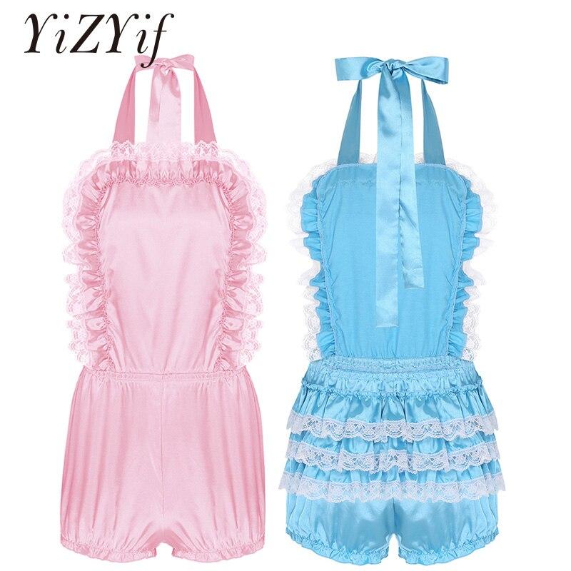 Mens Sissy Lingerie Pajamas Dress Bodysuit Ruffled Satin Bodysuit Sleepwear Erotic Teddies Bodysuit Gay Men Underwear Romper