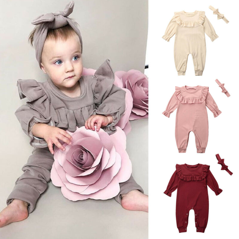 US Newborn Baby Girl Floral Romper Jumpsuit Pajamas Sleepwear Outfits Clothes
