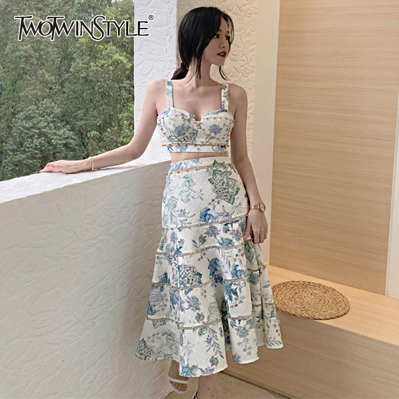 TWOTWINSTYLE Patchwork Rivet Women Two Piece Sets Square Collar Spaghetti Strap Short Top High Waist Skirt Print Suit Female New