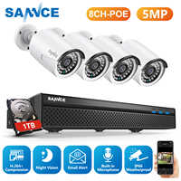 SANNCE 8CH 5MP HD POE Network Video Security System 5MP H.265 NVR With 4X 5MP 30M EXIR Night Vision Weatherproof IP Camera