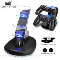 Daten Frosch Spiel Controller Ladegerät Dock LED Dual USB Ladestation Station Cradle Für Sony PlayStation 4 PS4/PS4 dünne/PS4 Pro