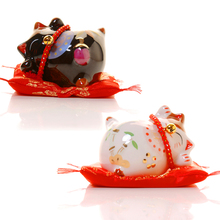 Lucky Fortune Black and White Lucky Cat Ceramics Cute Crafts Welcome Cats Household Products Hotel Decorations