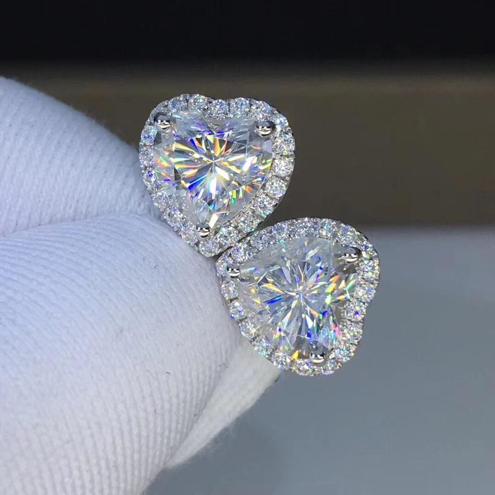 Poetry Of Jew Store Heart Moissanite Cut Total 2.00ct Diamond Test Passed Moissanite White Gold Earring Jewelry Girlfriend Gift