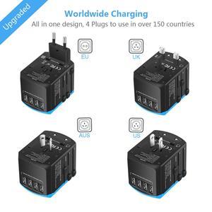 Image 4 - Evrensel güç seyahat adaptörü dünya çapında uluslararası güç adaptörü akıllı 2.4A 4 USB şarj aleti avrupa İngiltere abd dönüştürücü fiş