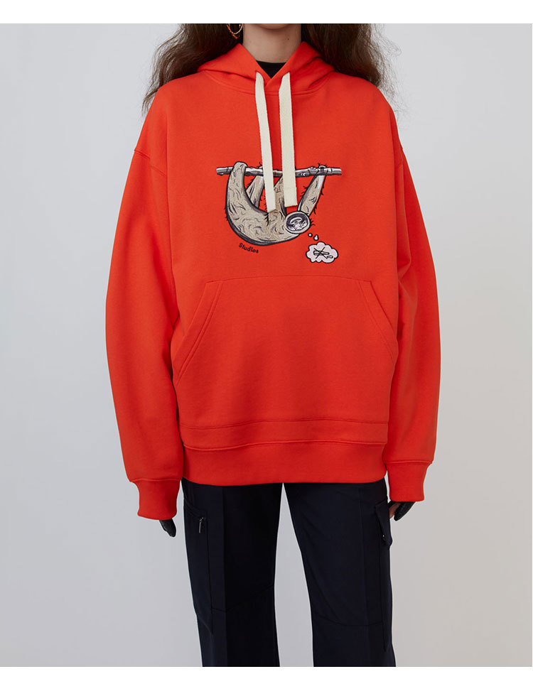Spring Autumn Sloth Sea Lion Dog Animal Embroidery Loose Hooded Men's And Women's Sweatshirt Hoodie A3