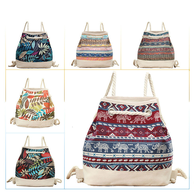 Nation Feng Shui Barrel Package Student A Bag Both Shoulders Backpack Canvas Thick Rope Ends Envelope Environmental Protection