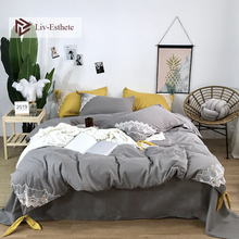 Liv-Esthete Luxury 100% Silk Lace Gray Bedding Set Silky Printed Duvet Cover Flat Sheet Double Queen Bed Linen For Beauty Girl