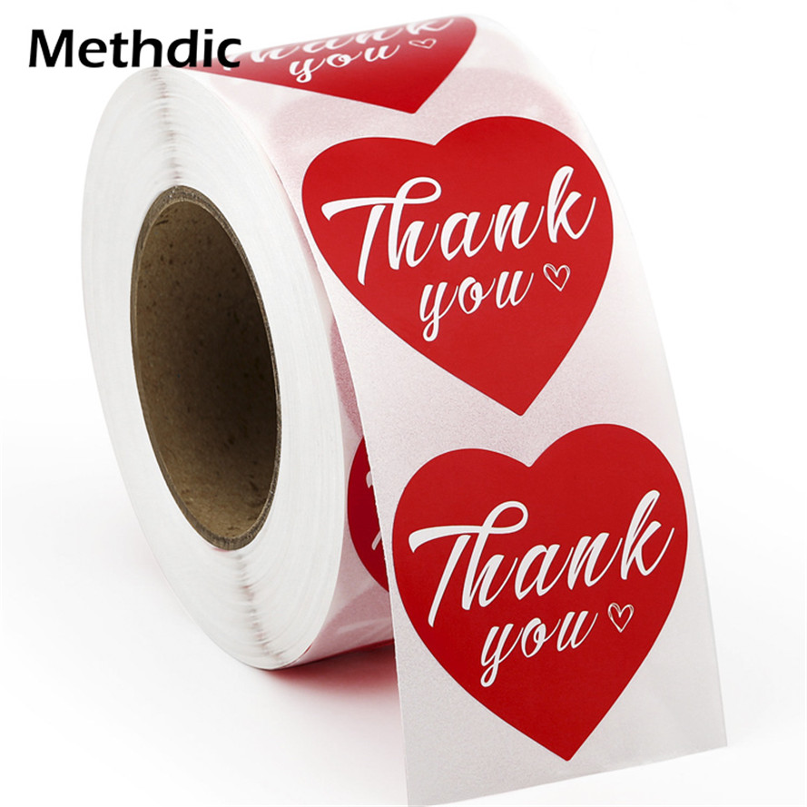Methdic 500 Labels/roll Heart Shape Sealing Thank You Label Stickers