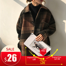 Women's Winter Plaid Wool Blends Vintage Coat Jacket Check B