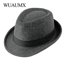 Wuaumx Autumn Winter Jazz Caps Middle aged Elderly Men Fedoras Hat For Male Solid Panama Hat Simple Black Bowler Hats Wholesale