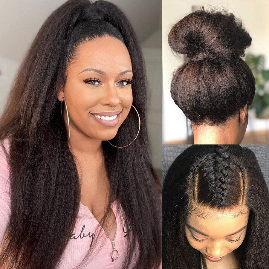 Кудрявый парик 28 30 32 дюймов человеческие волосы передние парики 13x6 HD Синтетические волосы на кружеве парик Queenlife бразильские волосы яки 4x4 5x5...
