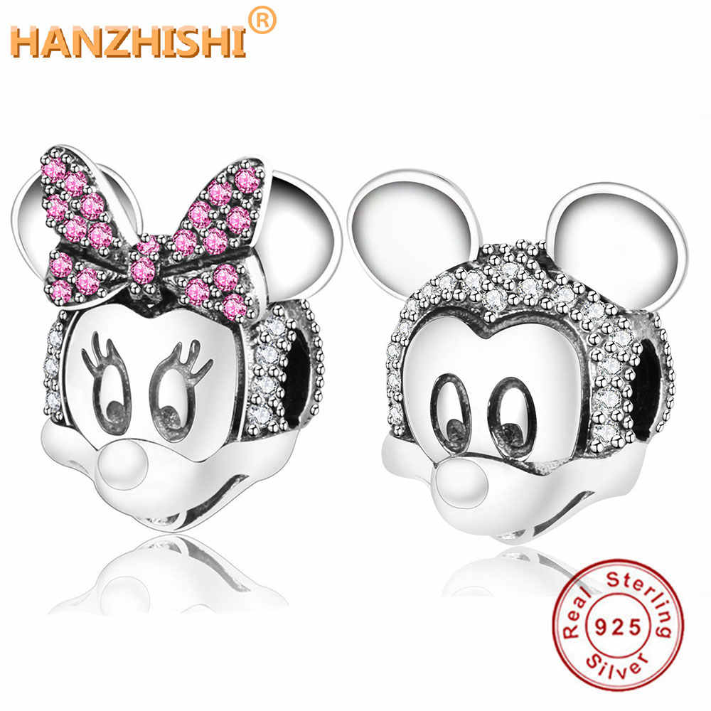 Fit Originele Pandora Bedelarmband Kralen 925 Sterling Zilver Two-Tone Minnie Mickey Portret Clip Charm 2018 Winter Diy sieraden