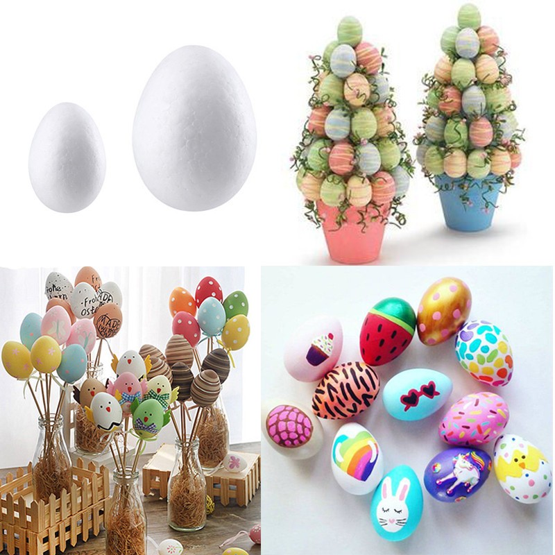 50pcs Easter Egg Styrofoam Foam Eggs Easter Decorations For Home DIY Graffiti Painted Eggs Ball Easter Decor Party Kids Gift Toy