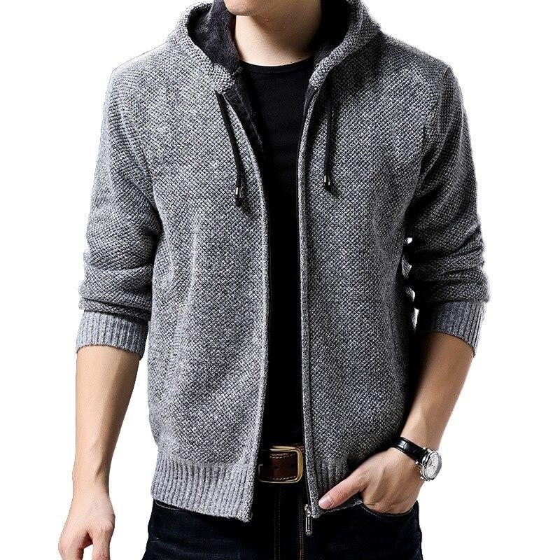 Nice Men Sweater Jacket Thick Warm Sweatercoats Autumn Winter Casual Fleece Hooded Coats Knitwear Sweaters Cardigan Masculino