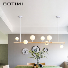 BOTIMI Cord Pendant Lights With Glass Ball For Dining Room Long Wooden Bar Pendant Lamp Modern Suspension Kitchen Lighting 1 7 10 heads cord pendant lamp oval clear ball pendant lighting glass shades eggs decorative pendant lighting for restaurants