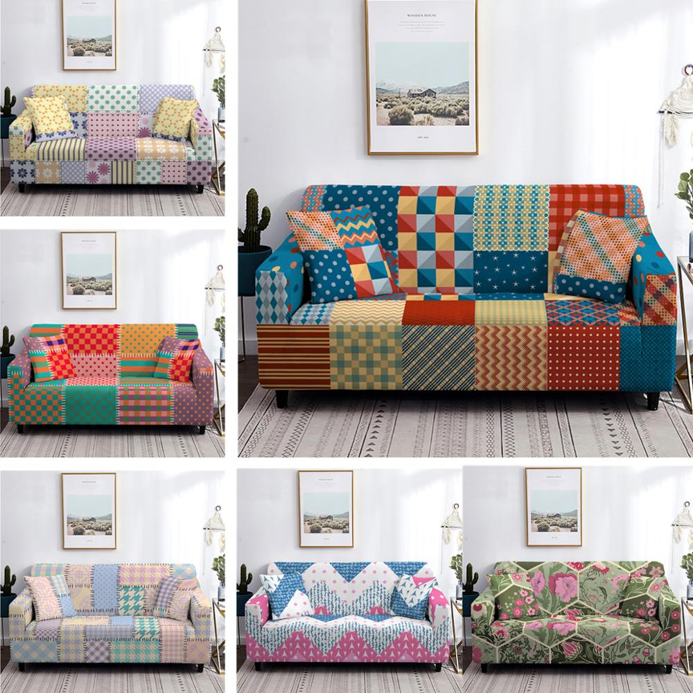 Lattice Flower Patchwork Style Sofa Cover Elastic Stretch Furniture Protector Decor Couch Cover Slipcovers 1/2/3/4 Seater