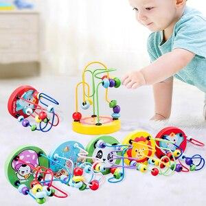 Деревянные игрушки Монтессори, деревянные круги, бусина, проволочный лабиринт, горки, Развивающие деревянные пазлы для мальчиков и девочек,...