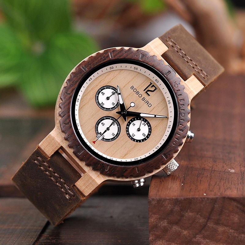 BOBO BIRD Relogio Masculino Men Watch Wood Bracelet Quartz Movement Wristwatch Custom Birthday Gift To Him Her Christmas Gifts