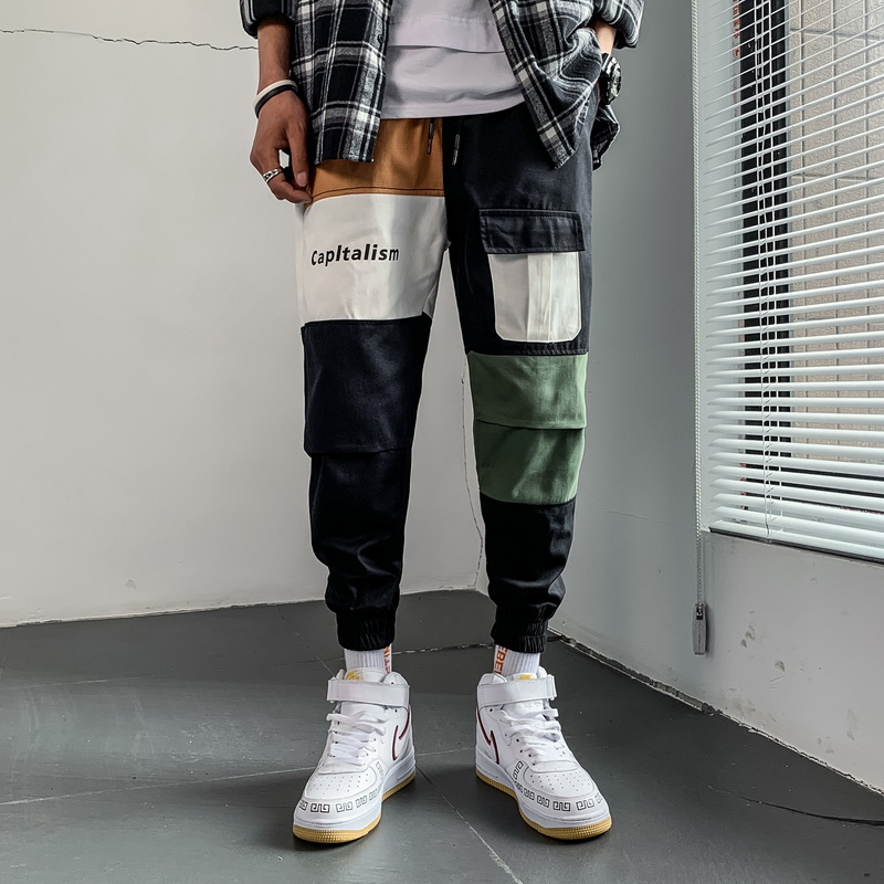 2019 Spring Autumn Patchwork Bigger Pockets Hip Hop Harem Pants Men's Casual Korean Cargo Oversize Joggers Trouers For Male