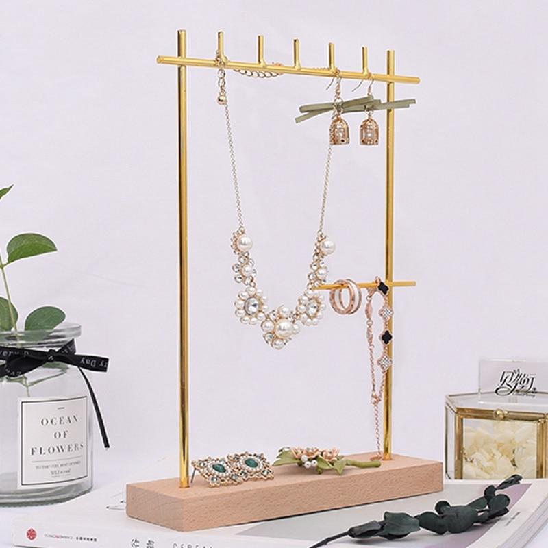 Solid Wood Metal Earrings Display Holder Necklace Pendant Display Stand Jewelry Display Holder Bracelets Display Rack