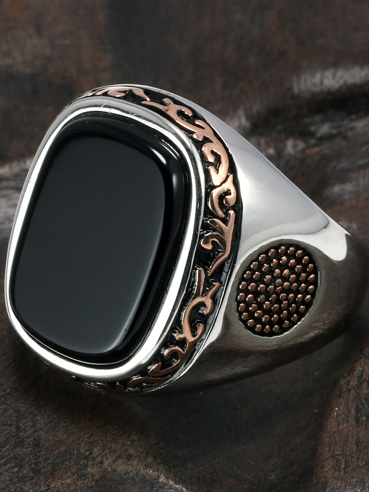 Mens Rings Jewelry Stones Turkey Onyx Silver Natural-Black Vintage S925 Real Pure Retro