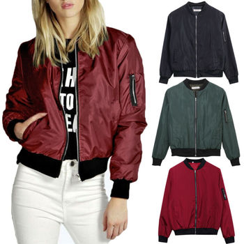 Women's Ladies Jacket Flight Coat Zip Up Biker Casual Loose Tops Clothes Outwear Sports