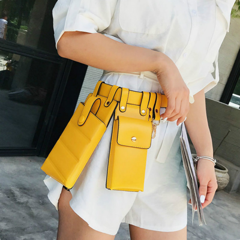 Women's Waist Bag Fashion Locomotive Multifunctional Designer Leather Fanny Pack Solid Color Small Female Crossbody Chest Bags