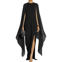 Women's Elegant High - Slit - Sleeve Ankle Length Formal Evening Dress Party Flare Sleeve with A Cape