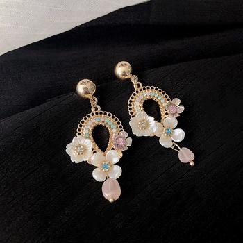 Modne modne kolczyki Rhinestone kwiaty spadek kolczyki dla kobiet Vintage Temperament kobiety spadek kolczyki słodka biżuteria tanie i dobre opinie DINGABIYU Aluminium TRENDY Moda