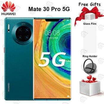 Купить Оригинальный Huawei Mate 30 Pro 5G мобильный телефон 6,53 дюйм8G + 128G Kirin 990 Android 10 тройные камеры 40MP фронтальная камера 32MP смартфон