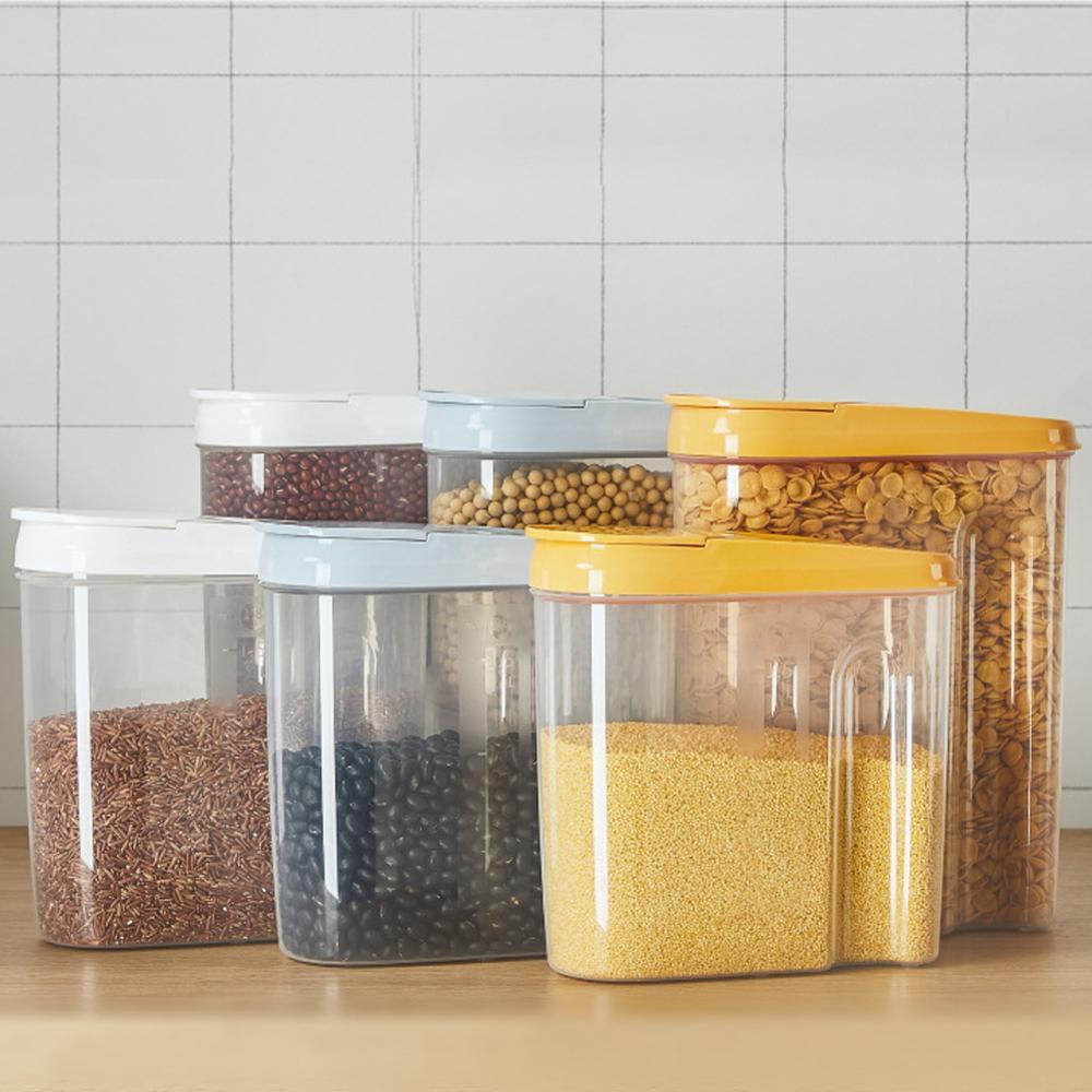 1 قطعة 1.8L/2.5L آلة توزيع حبوب صندوق تخزين المطبخ الغذاء أرز حبوب الحاويات دقيق الأرز الحبوب تخزين