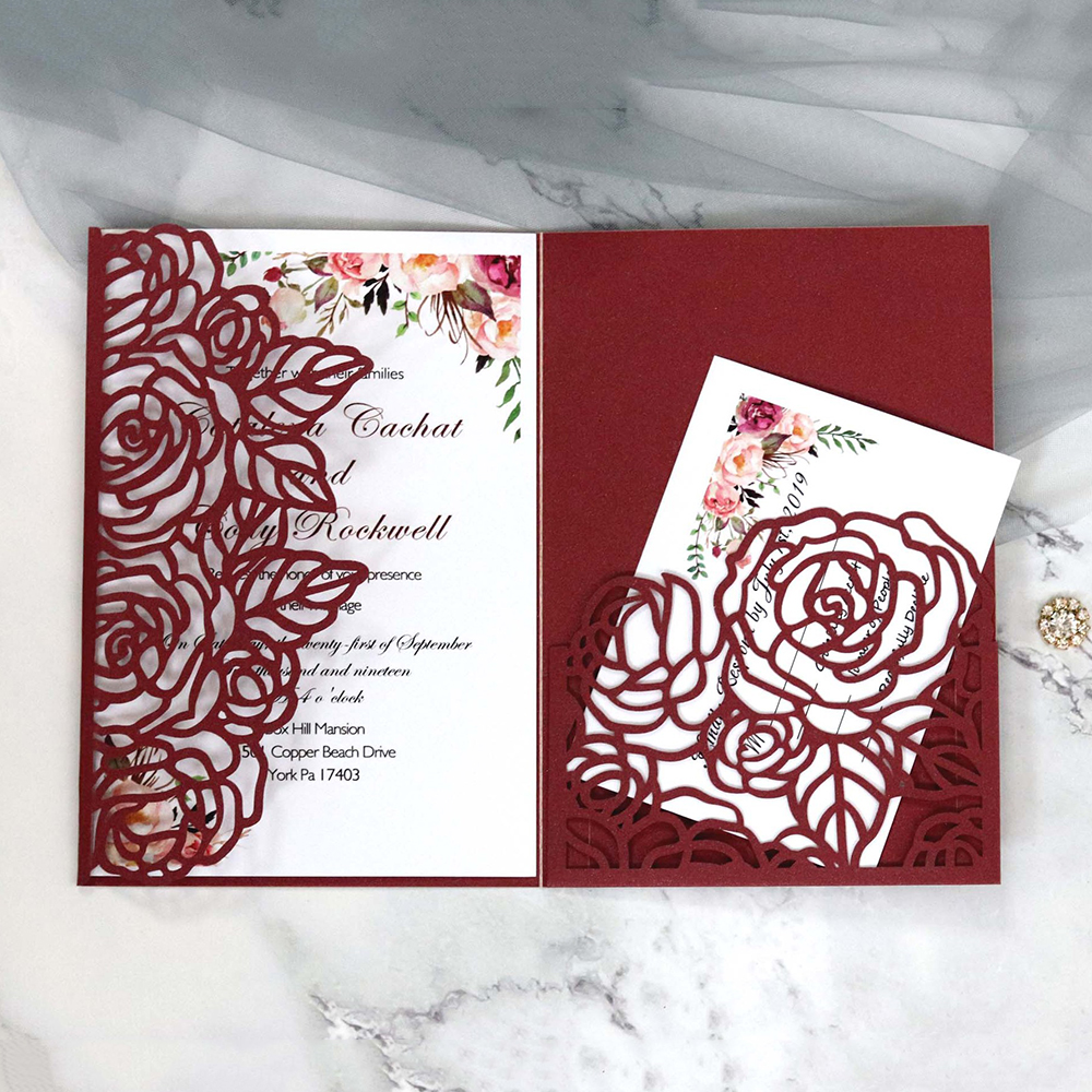 10Pcs Business Wedding Greeting Card Invitation Cards Envelope Hollow Heart