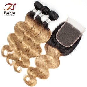 Image 5 - Bobbi Collection 1B 27 Indian Body Wave 2/3 Bundels Ombre Honey Blonde Bundels Met Sluiting 10 24 Inch Non Remy Human Hair Weave
