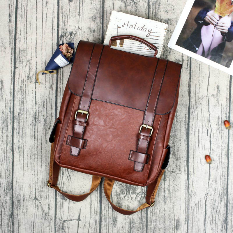 Fashion Women Backpack PU Leather School Bag Vintage Large Schoolbag For Teenage Girls Brown Black Backpacks Men Rucksack XA30H