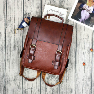Image 3 - Fashion Women Backpack PU Leather School Bag Vintage Large Schoolbag For Teenage Girls Brown Black Backpacks Men Rucksack XA30H