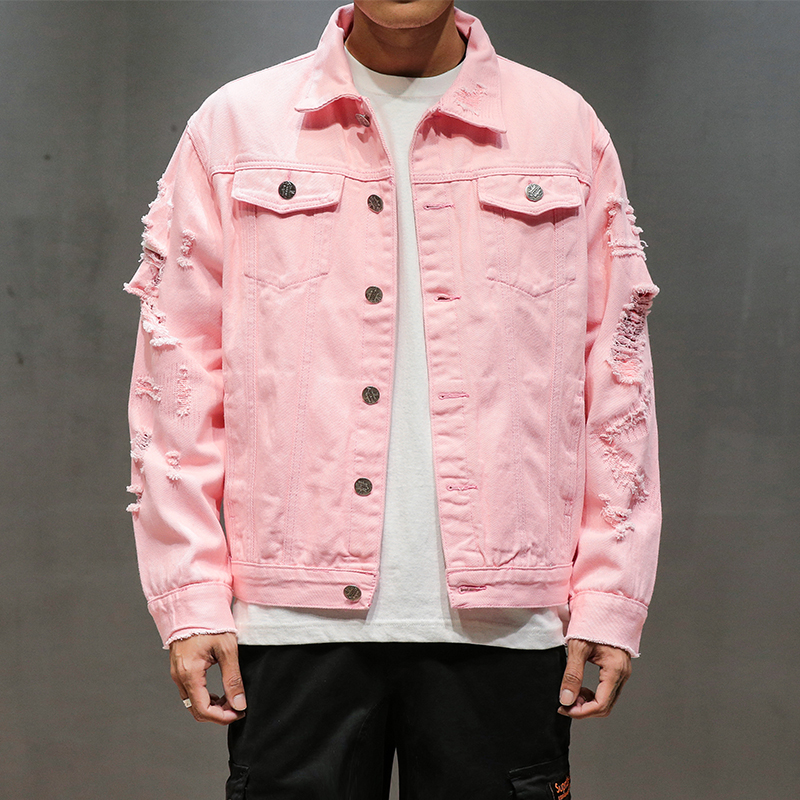 New Plus Size 5XL Pink Black Ripped Denim Jeans Jackets Hip Hop Streetwear Holes Casual Fashion Men Women Distressed Solid Coat