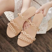 2020 Summer Casual Style Jelly Shoes Women Sandals Flats Rivet Slippers Fashion Holiday Beach Woman Flip Flops Size 35-40