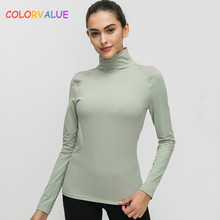 Colorvalue Stretchy Naked-feel Fabric Workout Fitness Sweater Tops Women Stand Collar Slim Fit Yoga Sport Long Sleeved Shirts