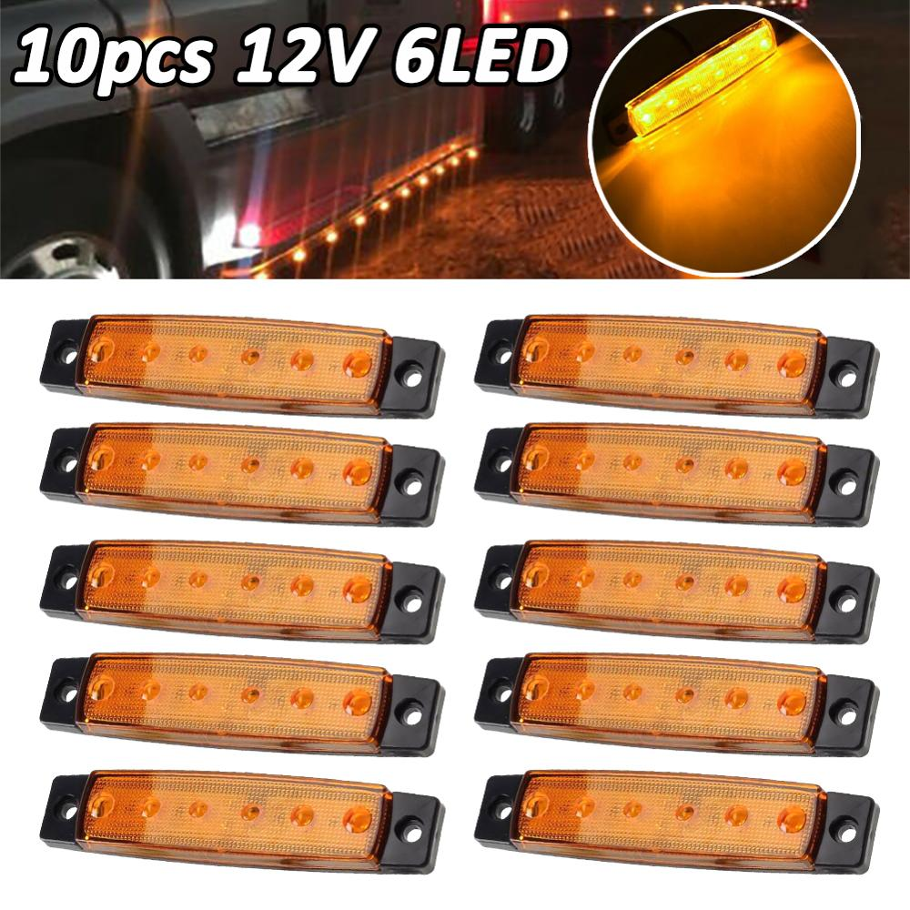 10 Pcs 6 LED Amber Side Marker Lights, Amber Trailer Marker Lights, Rear Side Marker Lamp Amber, Led Marker Lights For Trucks