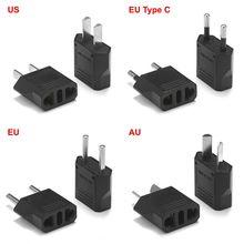 2 pcs UE Plug Adapter AU EUA Para A UE Adaptador de Energia Plugue Elétrico Tomada Conversor de Viagem China Euro Americano Australiano tomada