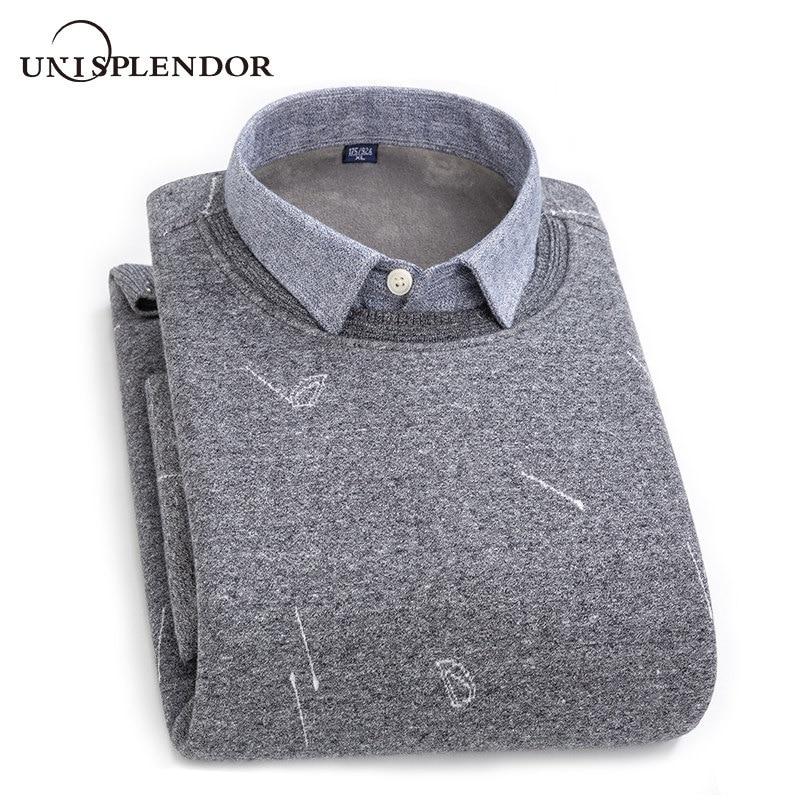 Winter Warm Men's Shirt Thicken Business Casual Men Shirt Printed Fake Two Pieces Male Shirt Top Plus Size Plus Velvet YN10564