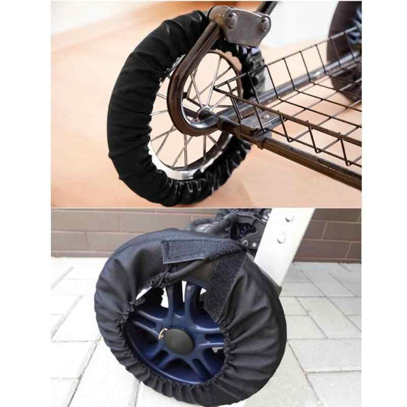 Capa de roda de carrinho de bebê à prova de poeira proteger piso carrinho de bebê à prova dwaterproof água proteção de náilon capas de roda acessórios