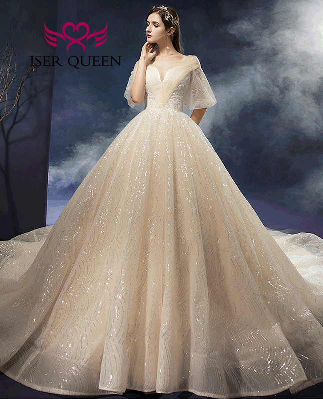 Bright Sequin Tulle Wedding Dress Europe V Neck Flare Sleeves Champagne Wedding Gowns свадебное платье 2020 Robe Mariage WX0061