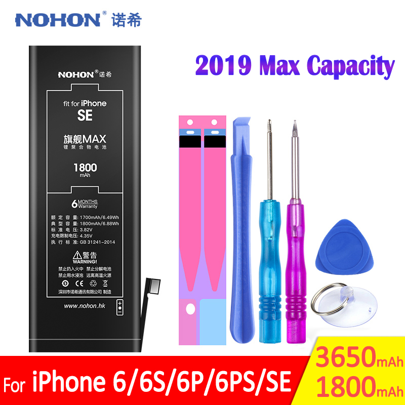 NOHON Battery For iPhone SE 6 6G 6S Plus 2019 Max High Capacity Replacement iPhoneSE iPhone6 Mobile Phone Bateria Free Tools image