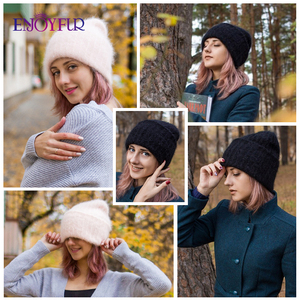 Image 5 - ENJOYFUR Winter rabbit fur hats for women warm wool lining girl  beanies fashion ladies bright color wide side young bonnets new