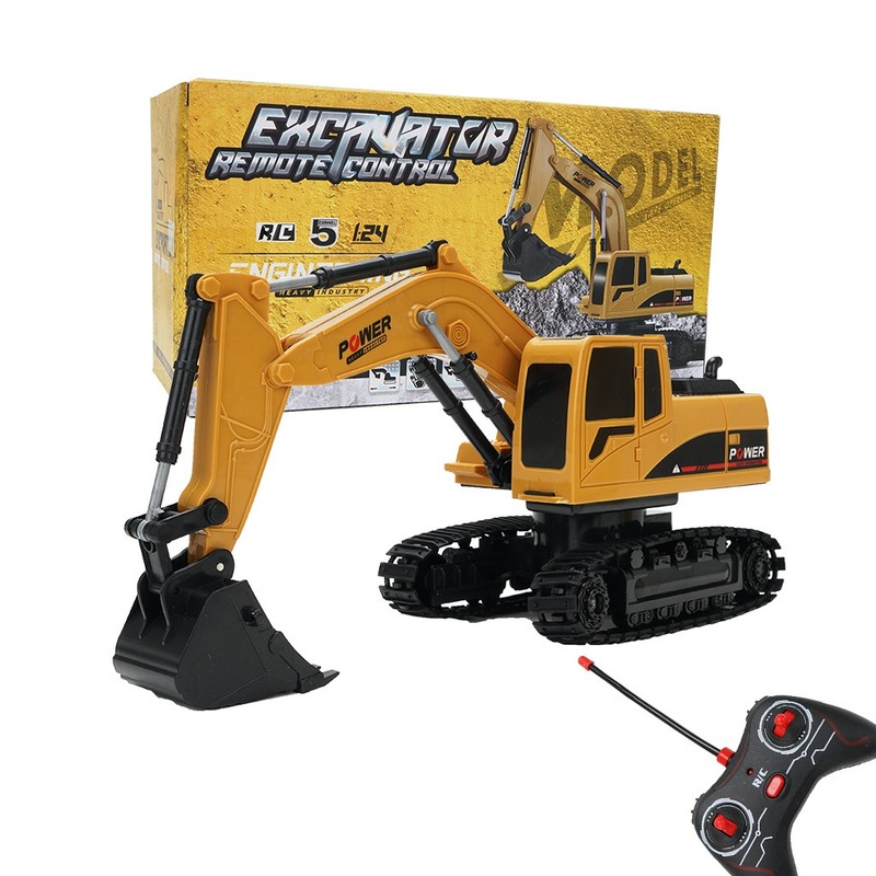 Excavator Toy 1028 Remote Control 1:24 Crawler Excavator Remote Control Four-wheel Drive 5 Channel with Light Educational Toy