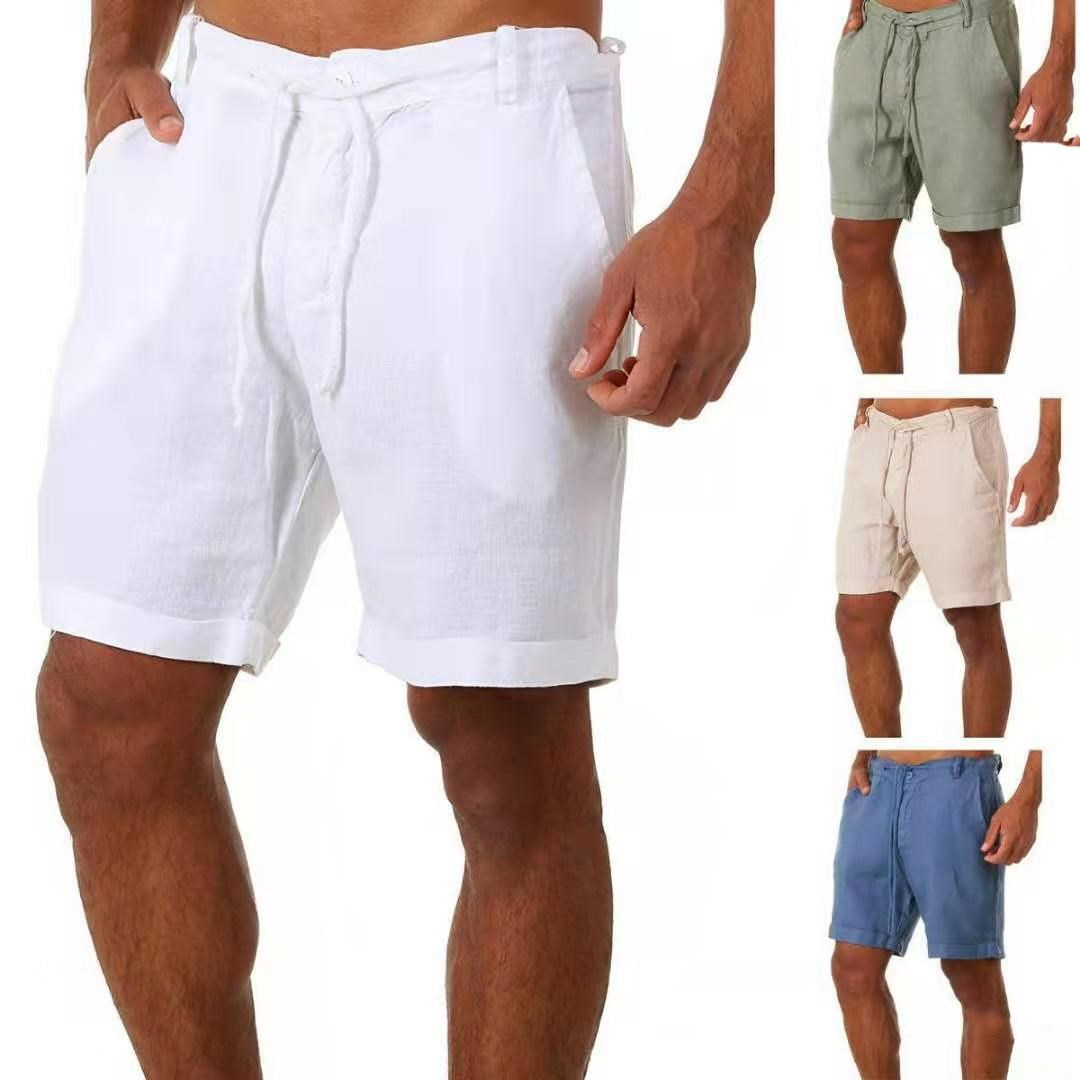 2021 New Men's Casual Fashion Flax High Quality Shorts Linen Solid Color Short trousers Male Summer Beach Breathable Flax Shorts