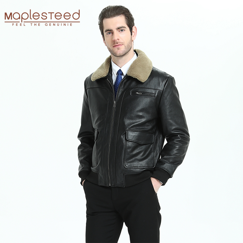 Men Leather Jacket Quilted With Fur Collar100% Calfskin Pilot Jacket Flight Cow Skin Leather Jacket Man Avaitor Winter Coat M301