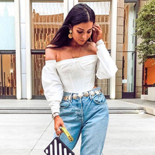Goocheer 2019 slash neck long sleeve white solid sexy crop tops autumn winter women streetwear club party outfits T-shirts цена и фото
